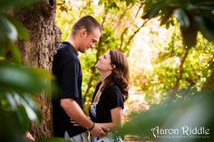 Love the natural light of this photo from an engagement session at University of Virginia.