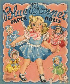Vintage Blue Bonnet Paper dolls book. Merrill Publishing Co....Florence Salter,artist.... Book Cover.