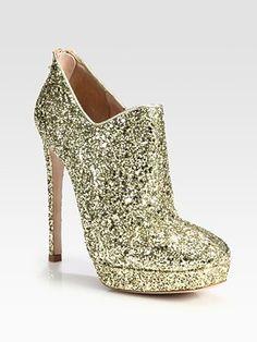 Miu Miu Glitter-Coated Platform Ankle Boots