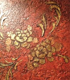 Raised patina gold leaf Modellos and RDS stencils. Work by Tiffany Alexander of Blank Canvas Design Studio.