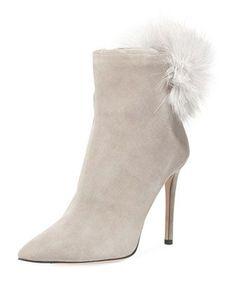 Tesler Fox Fur Pompom Bootie. Suede BootiesAnkle BootiesBergdorf  GoodmanFlatsSandalsComfortable ShoesJimmy ChooFox ... d018bee31fb