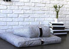Crescent Zafu and Zabuton Meditation Cushions White; Night Yoga, Meditation Pillow, Jute Fabric, Meditation Practices, Incense Holder, Modern Prints, Long Cardigan, Zig Zag, Textile Design