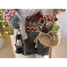 47cm Standing Santa with Knitted Outfit Christmas Decoration Red White