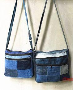 Patchwork jeans bag Patchwork Jeans, Diy Backpack, Denim Purse, Side Bags, Colored Denim, Small Bags, Bucket Bag, Purses And Bags, Shoulder Strap