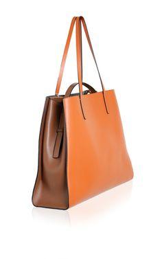 Clay & Golden Brown Shopping Bag by Marni for Preorder on Moda Operandi