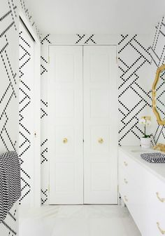 greg natale Australia adore home magazine april may 2013 black and white tile bathroom preppy lattice pattern via Room Fu - Knockout Interiors