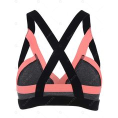 Cut Out Padded Gym Bra (181.045 IDR) ❤ liked on Polyvore featuring activewear, sports bras, padded sports bra, orange sports bra and cut out sports bra