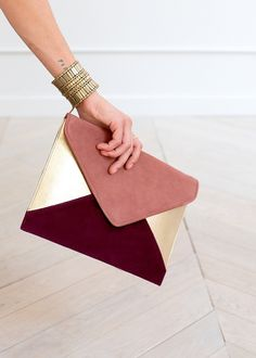 Pink, Burgundy and Metallic Gold Clutch | Handbags and Clutches