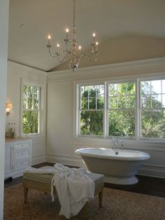 Vintage bathtub, traditional chandelier