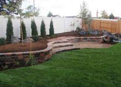 I kind of like this as an alternative to a straight-up retaining wall. Brick, stairs, curves, and spots in between the grass and wall to plant a few grasses. Backyard Projects, Backyard Ideas, Outdoor Ideas, Garden Ideas, Carport Patio, Backyard Patio, Outdoor Spaces, Outdoor Living, Patio Edging