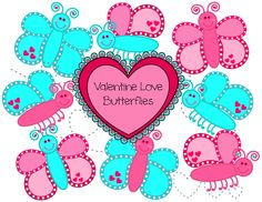 Valentine Love Butterflies – 8 butterflies and heart trails to use with the butterflies in your Valentines projects. Free valentine clipart.