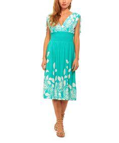 Turquoise & White Floral Smocked-Waist Surplice Dress