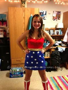 Cool Homemade Wonder Woman Costume for homecoming week