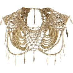 River Island Gold tone chainmail embellished cape ($47) ❤ liked on Polyvore featuring jewelry, necklaces, accessories, collar, sale, gold colored necklace, river island, goldtone jewelry, gold tone collar necklace and gold tone necklace