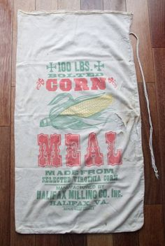 Halifax Milling Co Bolted Corn Meal Sack, Feed Sack, $24.00 Grain Sack, Antique Textile, Sewing Room Decor, Repurpose, Upholstery, (WTH-1028) by WeeklyTreasureHunt on Etsy