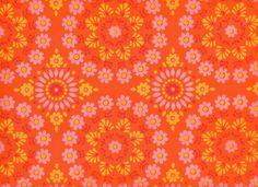 Image of Vintage 1970s Orange And Pink Flower Wallpaper, price is per Metre
