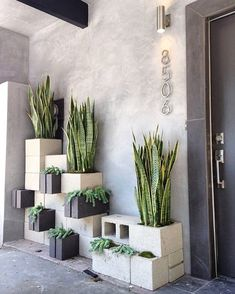 Eclectic Front Door with exterior stone floors, House Numbers Avalon - Modern House Number in Brushed Nickel, Raised beds