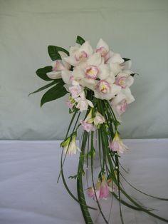 Forget Me Not Floral Design - Cascading cymbidium orchid bouquet