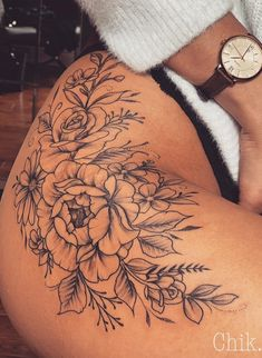 25 Inspirational Flower Hip Thigh Tattoo Design Ideas For Sexy Woman – Inspirational hip thigh tattoo ideas for woman, first tattoo on thigh, flower tattoo design ideas, ink rose tattoo, female tattoo design on. Flower Hip Tattoos, Hip Thigh Tattoos, Cute Hand Tattoos, Floral Thigh Tattoos, Thigh Tattoo Designs, Dope Tattoos, Flower Tattoo Designs, Body Art Tattoos, Sleeve Tattoos