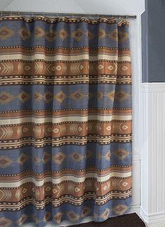 Good Sierra Blue Southwest Chenille Fabric Shower Curtain Carstens Inc  Southwestern Bath