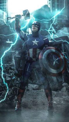 Fan art of captain america lifting thor's hammer geek/nerd 3 captain a Marvel Comics, Marvel Heroes, Marvel Characters, Deadpool Comics, Marvel Captain America, Thor, Captain America Wallpaper, Chris Evans, The Avengers