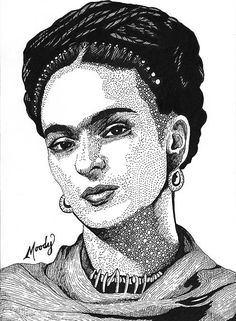 "Frida Kahlo - Micron pens on 5"" x 7"" Bristol - by Monica Moody"