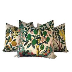 Add A New Look By Using Pillow Covers Made of Designer Fabric!On the Front: Schumacher Citrus Garden Print FabricOn the Back: Ivory Linen Fabric100% Linen FabricAll pillow covers are sewn professionally, over-locked with finished edges to prevent fraying and has invisible zipper enclosures. This provides long lasting,