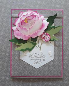 Hand Made Greeting Cards, Making Greeting Cards, Card Making Inspiration, Making Ideas, Paper Peonies, Peony Rose, Peonies Garden, Stamping Up Cards, Sympathy Cards