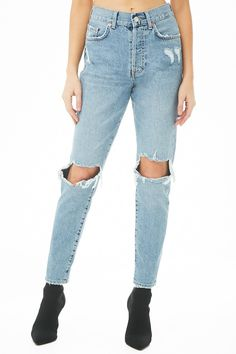 High-Rise Distressed Mom Jeans