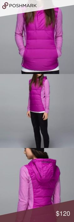 Lululemon Fluff Off Pullover Lululemon Fluff Off Pullover Color: Ultra Violet Size: 6 (First 4 photos are stock) Worn only few times, has small (1 mm droplet size) on back fluff shown in picture 5 , extremely unnoticeable Release Date: 12/2014 Material: Rulu on sides, Goose Down stretchy Rulu sleeves and side panels let you move in this slim-fitting pullover stash your tunes in the hidden pocket with tangle-free cord window in the kangaroo pocket thumbholes and Cuffin sleeves help keep your…