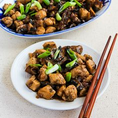 Recipe for Mark Bittman's Ginger Chicken with Mushrooms and Thai Flavors  [from KalynsKitchen.com]