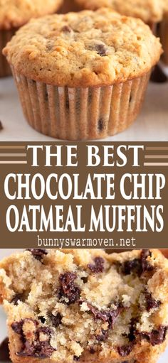 dessert recipes 249386898104191974 - Oatmeal Chocolate Chip Muffins are perfect for breakfast, snacks or your mid morning coffee break, they're tender, delicious and AMAZING! Source by BunnysWarmOven Easy No Bake Desserts, Köstliche Desserts, Dessert Recipes, Plated Desserts, Pastries Recipes, Chocolate Chip Oatmeal, Chocolate Muffins, Chocolate Muffin Recipes, Chocolate Chip Bread