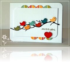 handmade card ... clean lines ... Memory Box branch with a flock of punched birds perched on it ... adorable ...