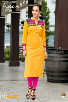Yellow simple casual wear printed cotton  kurtis 05