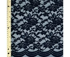 Navy Scallop Lace Fabric By the Yard - Adele - Lace Fabrics