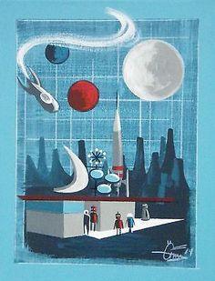 EL GATO GOMEZ PAINTING RETRO SPACE SHIP ROCKET SCI-FI 1950S FUTURISTIC GOOGIE