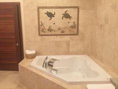Master Bathtub With Custom Stone Mural Created By MakenaTileMurals.com