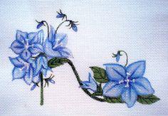 Blue Bell Flower Slipper Needlepoint canvas