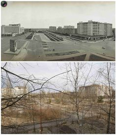 A combination of images, taken in 1982 and on March 31, 2011, shows before and after view of the abandoned city of Prypiat near the Chernobyl nuclear power plant. Belarus, Ukraine and Russia will mark the 25th anniversary of the nuclear reactor explosion in Chernobyl, the place where the world's worst civil nuclear accident took place, on April 26.
