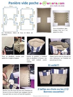 Panière vide poche simplifiés - Pop Couture Hello Here is a tutorial simplified to the maximum with the least possible seams to quickly realize baskets in fabric or empty pocket. It's up to you to sew! See you soon. Pop Couture, Couture Sewing, Bag Patterns To Sew, Sewing Patterns, Sewing Tutorials, Sewing Projects, Diy Projects, Fabric Boxes, Purses