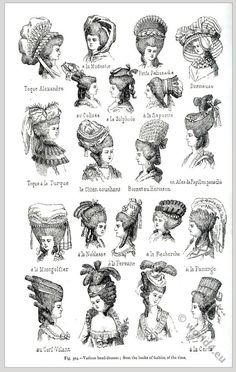 Ladies hat styles from 1776-1790 by Rose Bertin.