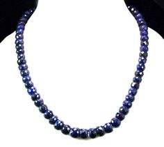 Natural Sapphire 495ct Big Size Faceted Beaded Gemstone Stings Necklace #Handmade #StrandString