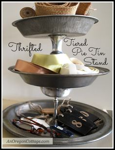 Tiered Pie Tin Stand {Thrift Store Transformation} - An Oregon Cottage | An Oregon Cottage