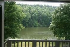 A beautiful of Lindsey Lake from one of the new cabins at David Crockett State Park
