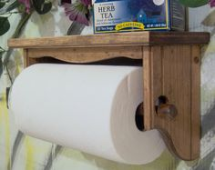 Paper towel holder shelf wall solid wood Early American by jahnjed, $28.95