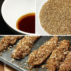 If you like the taste of sesame as much as I do, you'll love these simple baked chicken tenders coated with sesame seeds, panko and a hint of soy sauce. Perfect for a quick weeknight meal.  I served this with scallion rice and some extra soy sauce on the side because I was pressed for time, but this would be great with brown fried rice, quinoa fried rice or even over a salad or some stir fried vegetables.      Sesame Encrusted Baked Chicken Tenders Gina's Weight Watcher Recipes  Servings: 4…