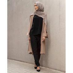 - Mocha Crepe Midi Kimono Black Crepe Top Black Straight Leg Trousers Mid Grey Modal Hijab www.inayah.co