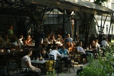 Bunkier Cafe in Krakow, Poland.  Along The Planty (Krakow's version of Central Park!) One of a kind outdoor seating.