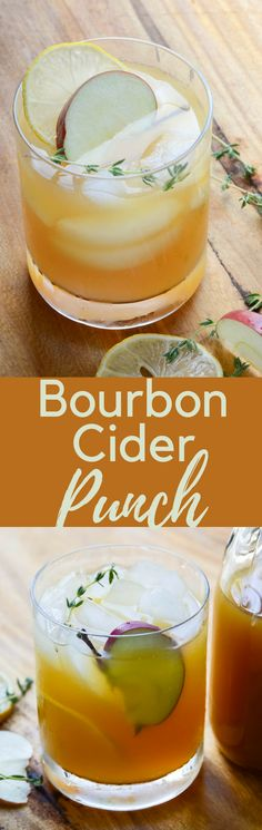 Looking for a boozy cider cocktail recipe?  This Bourbon Cider Punch is it!  With a thyme simple syrup & a splash of club soda, it's a refreshing fall drink!