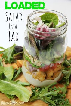 Loaded Salad in a Jar - Do you know there's a science behind building a salad in a jar? It's a great way to transport a salad for camping, picnics and office lunches!